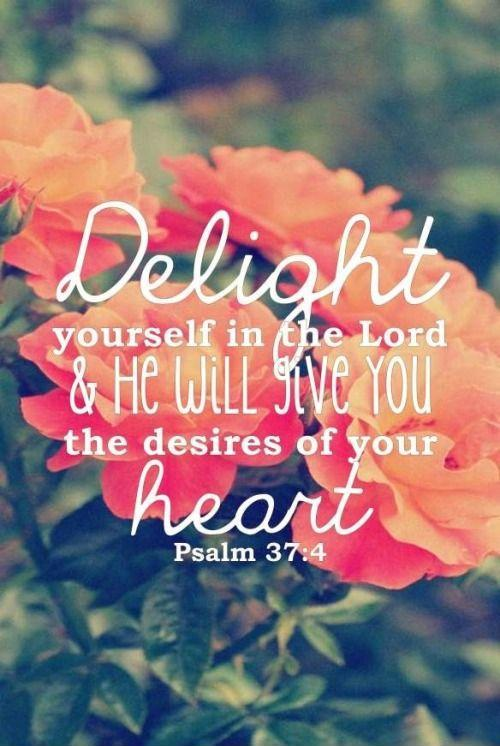 Delight yourself in the Lord and He will give you the desires of your heart Picture Quote #1