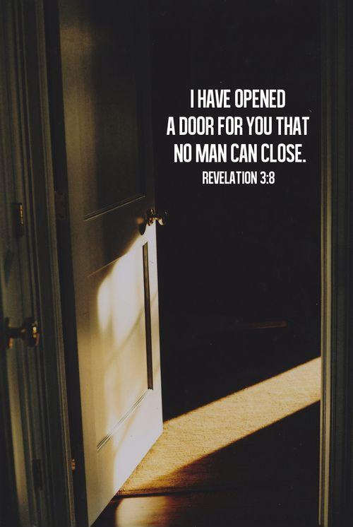 I have opened a door for you that no man can close Picture Quote #1