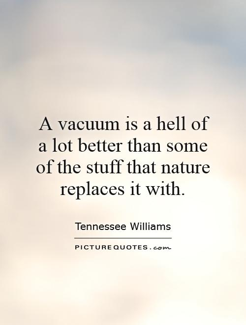 A vacuum is a hell of a lot better than some of the stuff that nature replaces it with Picture Quote #1