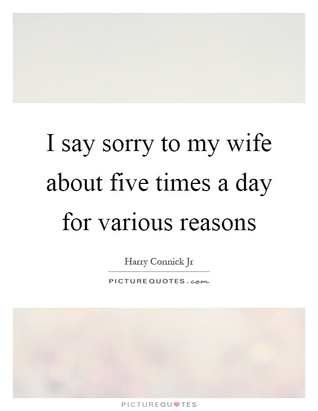 I say sorry to my wife about five times a day for various reasons Picture Quote #1