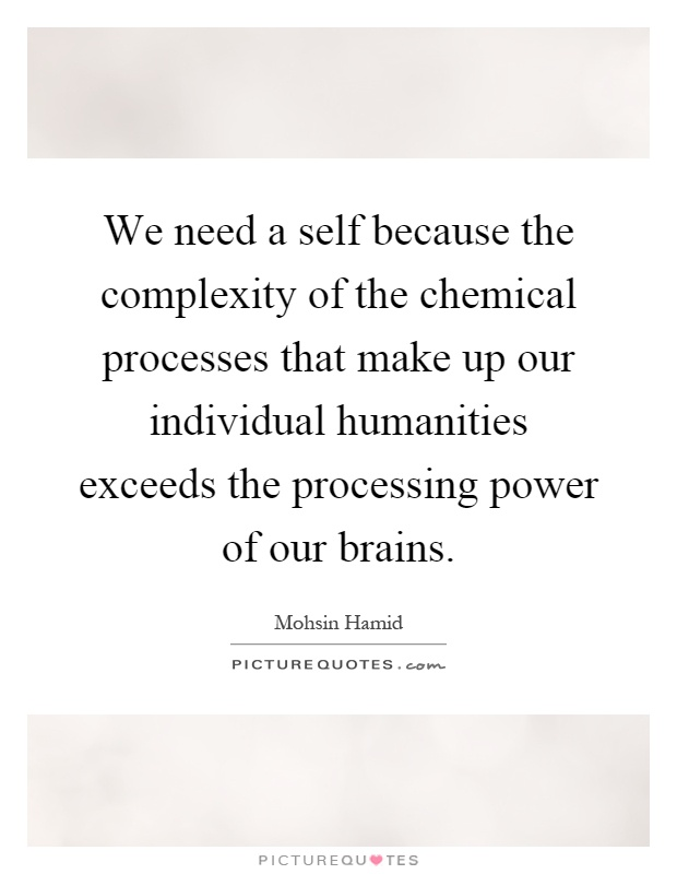 We need a self because the complexity of the chemical processes that make up our individual humanities exceeds the processing power of our brains Picture Quote #1