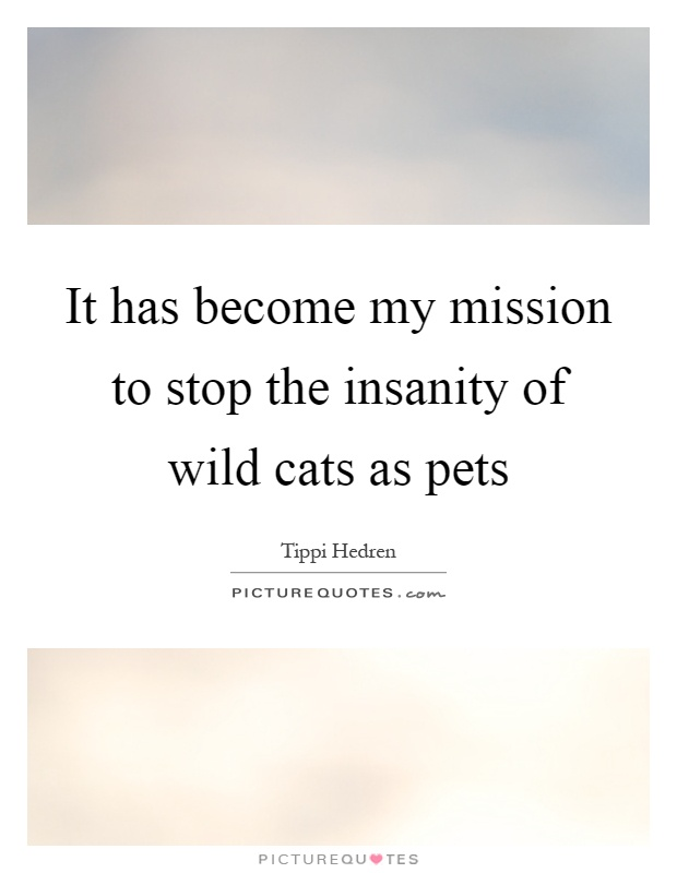 It has become my mission to stop the insanity of wild cats as pets Picture Quote #1