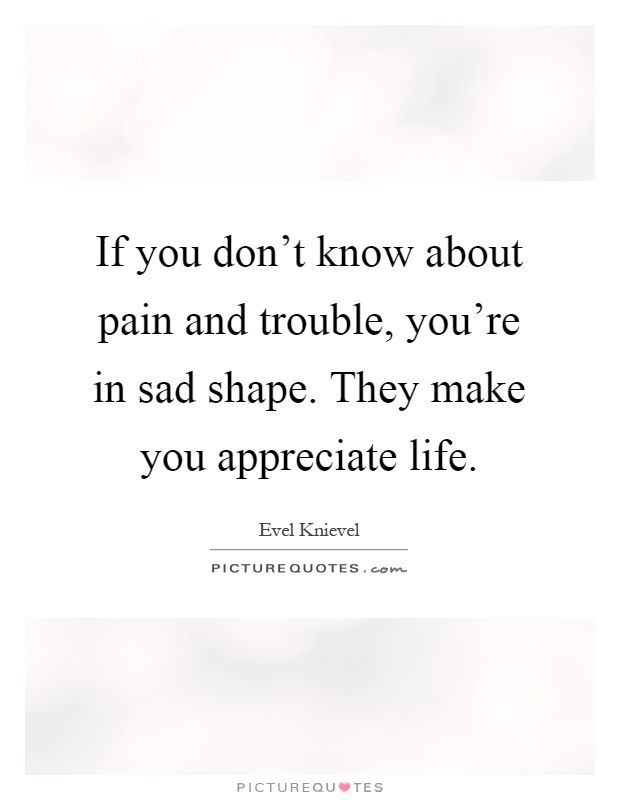 If you don't know about pain and trouble, you're in sad shape. They make you appreciate life Picture Quote #1
