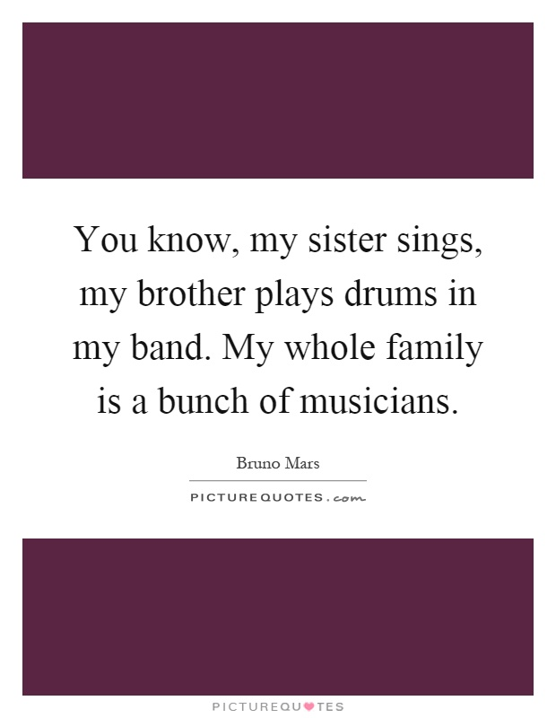 You know, my sister sings, my brother plays drums in my band. My whole family is a bunch of musicians Picture Quote #1
