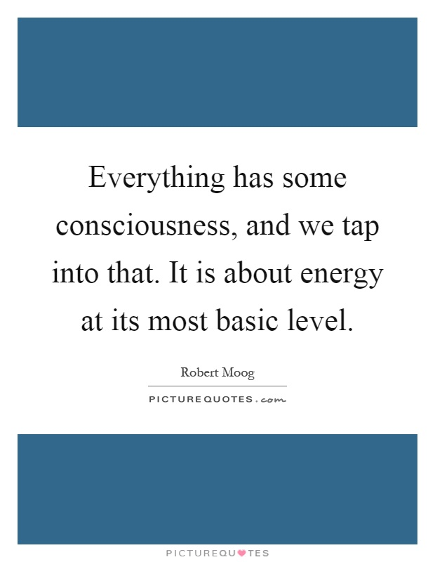 Everything has some consciousness, and we tap into that. It is about energy at its most basic level Picture Quote #1