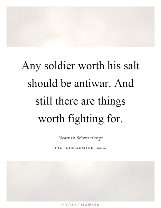 Any soldier worth his salt should be antiwar. And still there are things worth fighting for Picture Quote #1