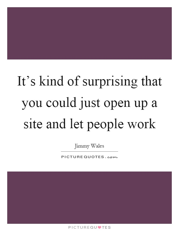 It's kind of surprising that you could just open up a site and let people work Picture Quote #1
