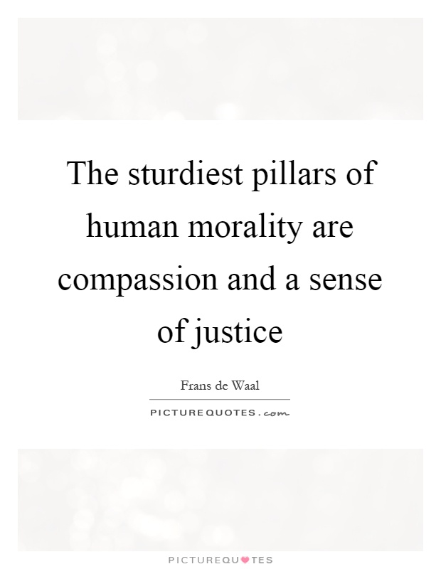 The sturdiest pillars of human morality are compassion and a sense of justice Picture Quote #1