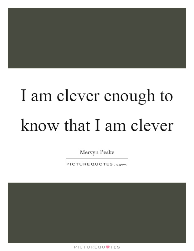 I am clever enough to know that I am clever Picture Quote #1