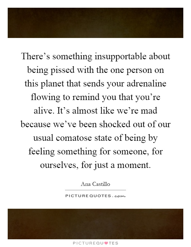 There's something insupportable about being pissed with the one person on this planet that sends your adrenaline flowing to remind you that you're alive. It's almost like we're mad because we've been shocked out of our usual comatose state of being by feeling something for someone, for ourselves, for just a moment Picture Quote #1