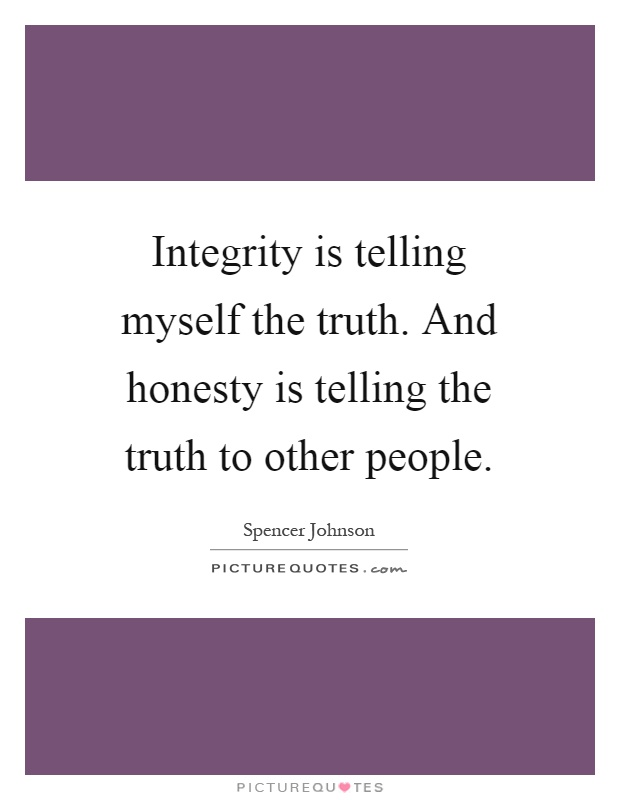 Integrity is telling myself the truth. And honesty is telling the truth to other people Picture Quote #1