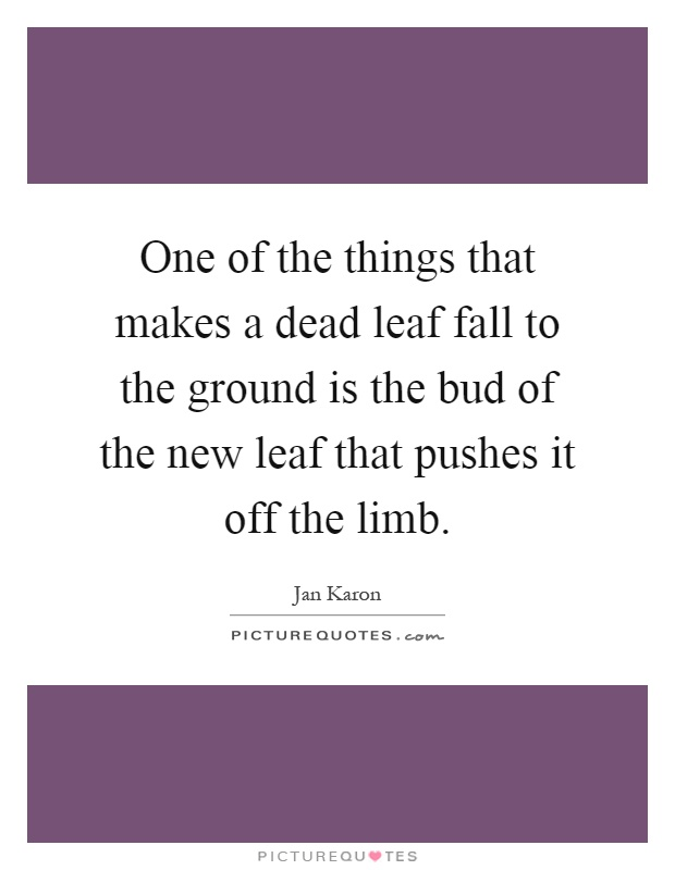 One of the things that makes a dead leaf fall to the ground is the bud of the new leaf that pushes it off the limb Picture Quote #1