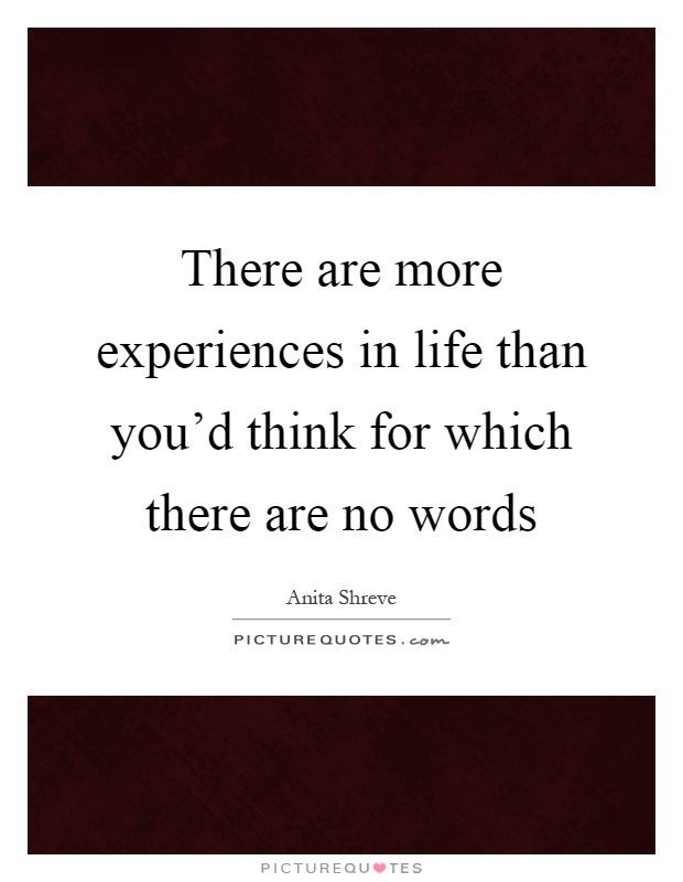 There are more experiences in life than you'd think for which there are no words Picture Quote #1