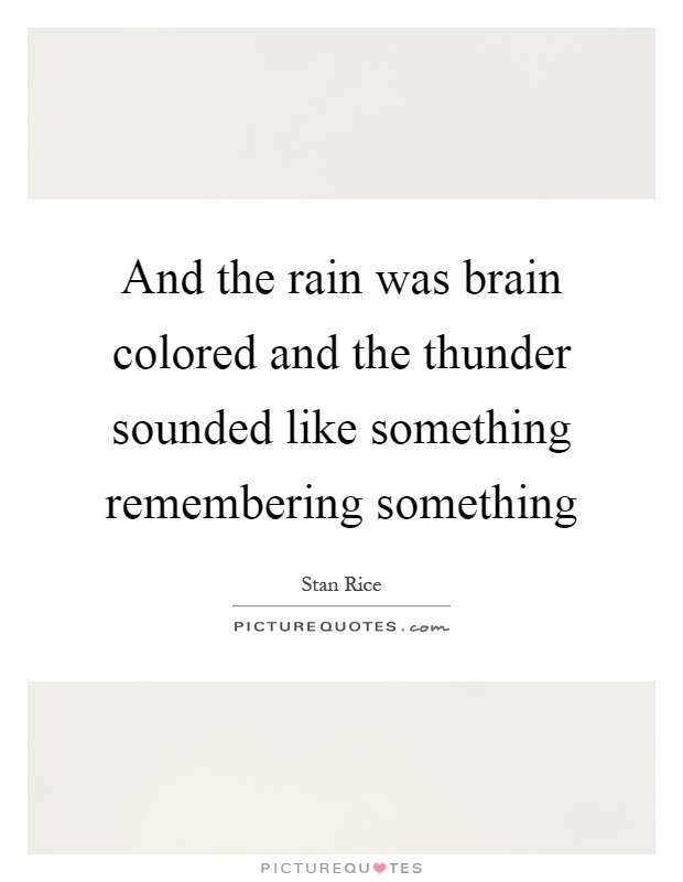 And the rain was brain colored and the thunder sounded like something remembering something Picture Quote #1