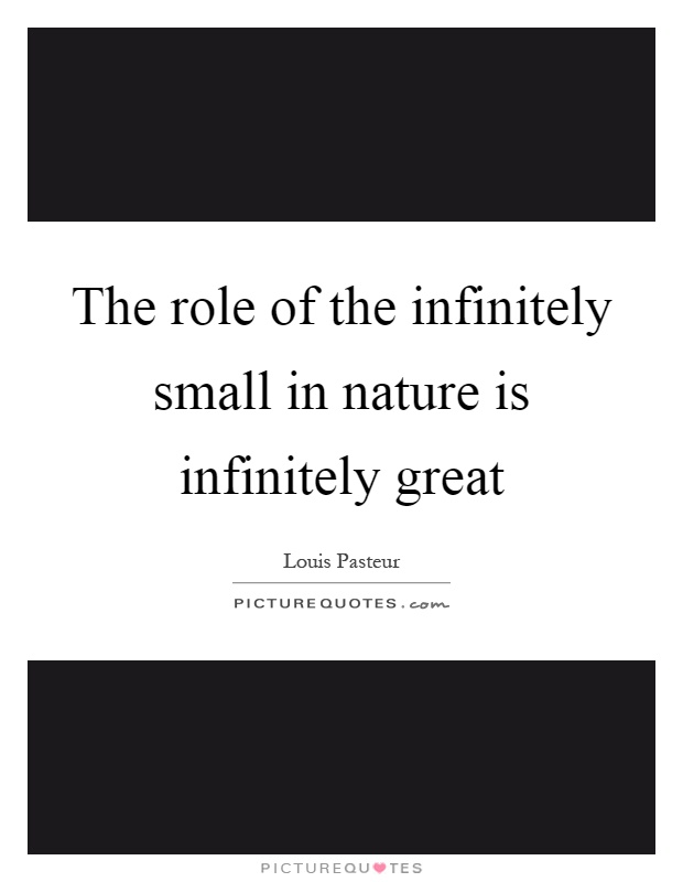 The role of the infinitely small in nature is infinitely great Picture Quote #1