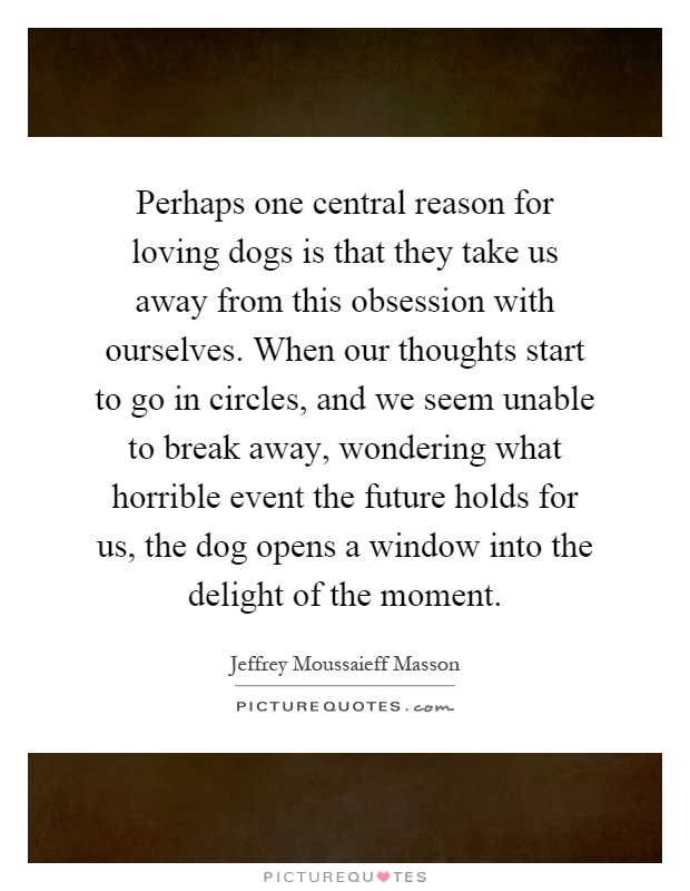 Perhaps one central reason for loving dogs is that they take us away from this obsession with ourselves. When our thoughts start to go in circles, and we seem unable to break away, wondering what horrible event the future holds for us, the dog opens a window into the delight of the moment Picture Quote #1
