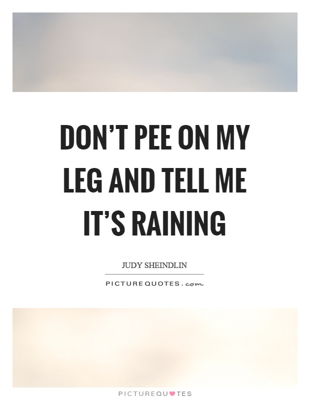 Don't pee on my leg and tell me it's raining Picture Quote #1