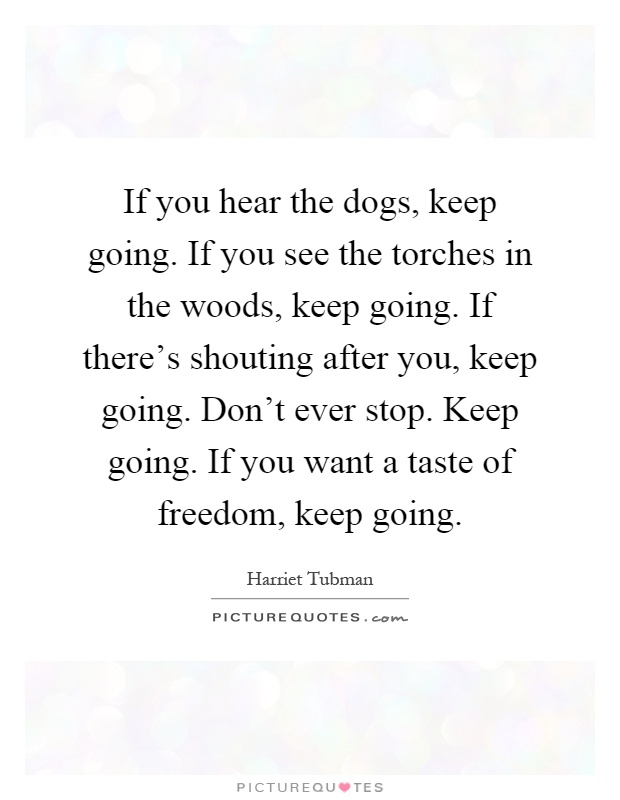 If you hear the dogs, keep going. If you see the torches in the woods, keep going. If there's shouting after you, keep going. Don't ever stop. Keep going. If you want a taste of freedom, keep going Picture Quote #1