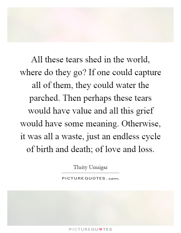 All these tears shed in the world, where do they go? If one could capture all of them, they could water the parched. Then perhaps these tears would have value and all this grief would have some meaning. Otherwise, it was all a waste, just an endless cycle of birth and death; of love and loss Picture Quote #1