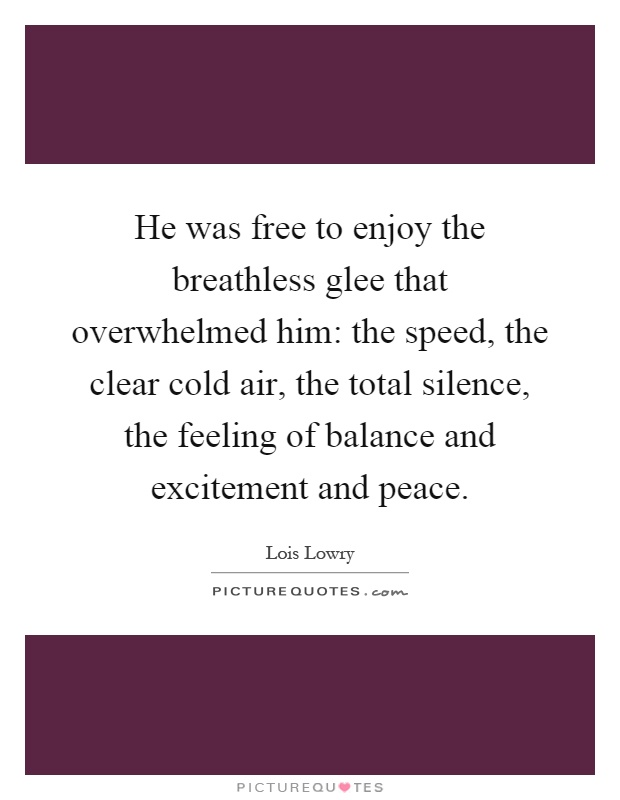 He was free to enjoy the breathless glee that overwhelmed him: the speed, the clear cold air, the total silence, the feeling of balance and excitement and peace Picture Quote #1