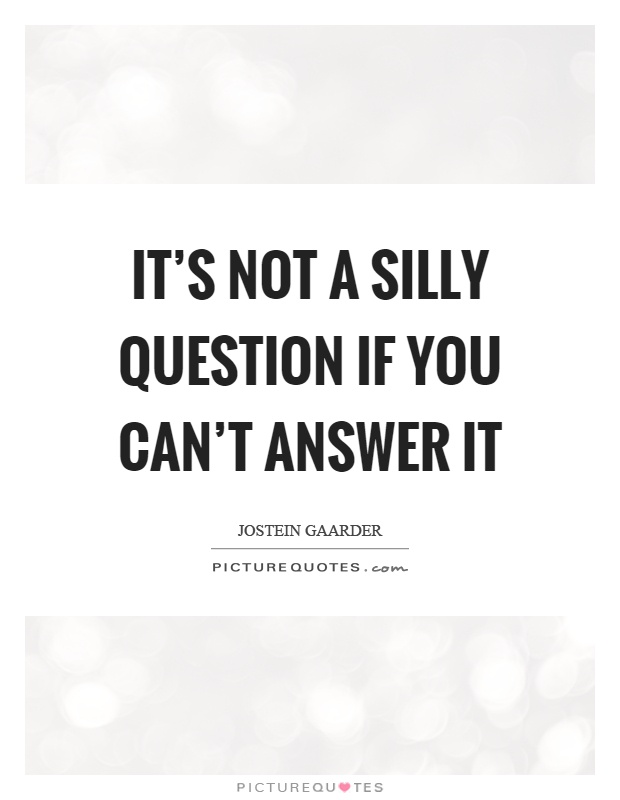 It's not a silly question if you can't answer it Picture Quote #1