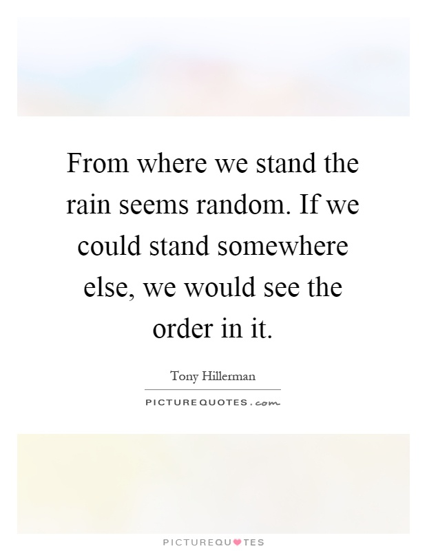 From where we stand the rain seems random. If we could stand somewhere else, we would see the order in it Picture Quote #1