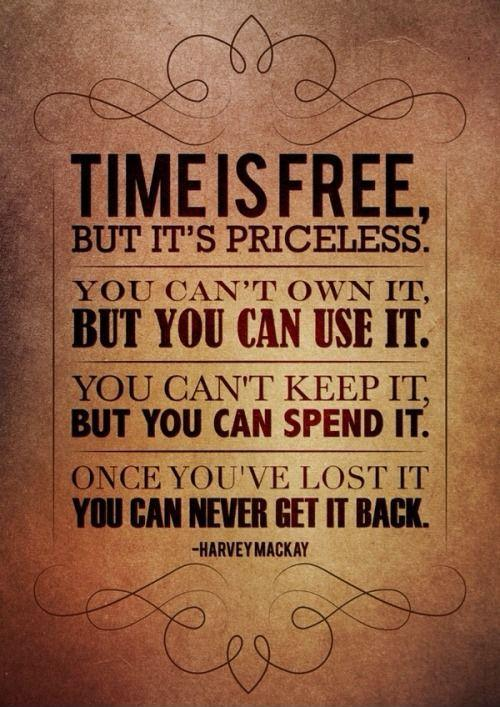 Time is free, but it's priceless. You can't own it, but you can use it. You can't keep it, but you can spend it. Once you've lost it you can never get it back Picture Quote #1