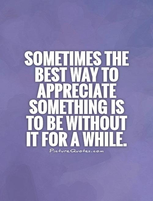 Sometimes the best way to appreciate something is to be without it for a while Picture Quote #1