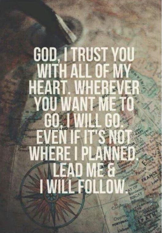 God, I trust you with all of my heart. Wherever you want me to go, I will go. Even if it's not where I planned. Lead me and I will follow Picture Quote #1
