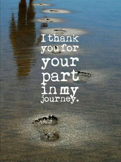 I thank you for your part in my journey Picture Quote #2
