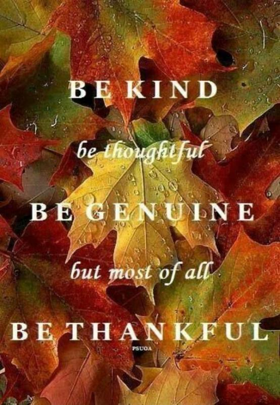 Be kind, be thoughtful, be genuine, but most of all be thankful Picture Quote #1