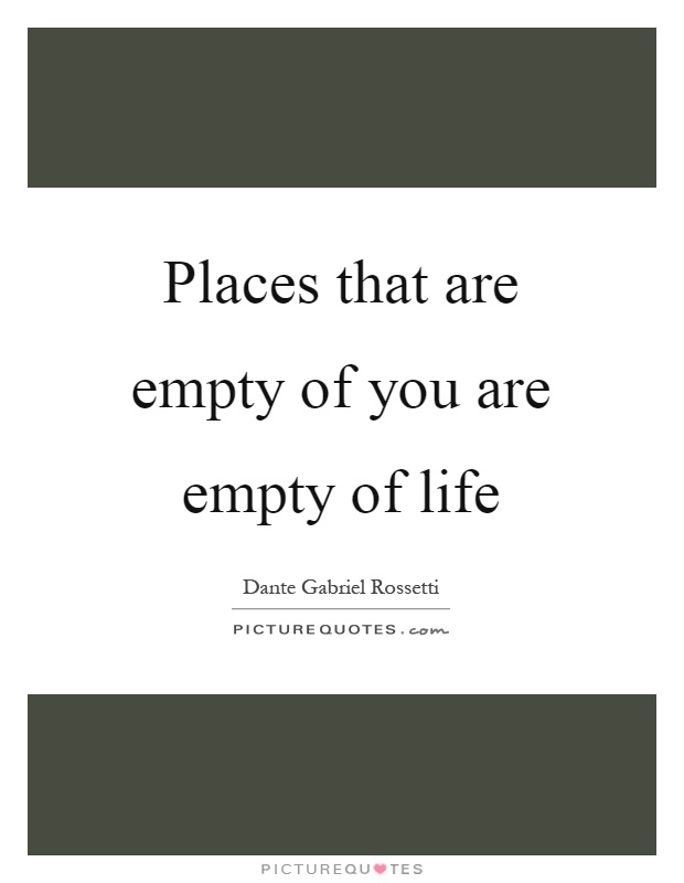 Places that are empty of you are empty of life Picture Quote #1