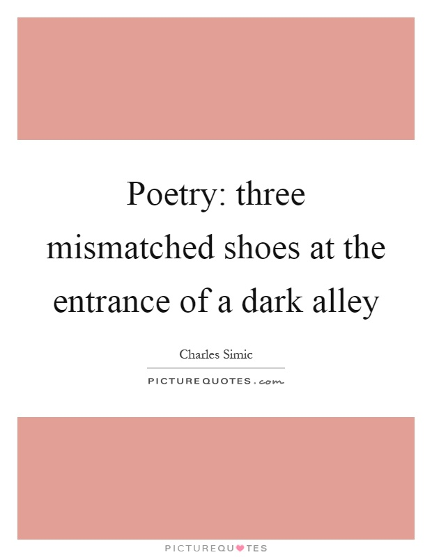 Poetry: three mismatched shoes at the entrance of a dark alley Picture Quote #1