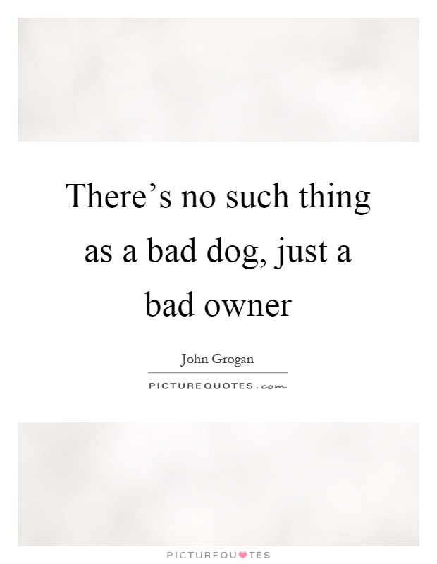 There's no such thing as a bad dog, just a bad owner Picture Quote #1