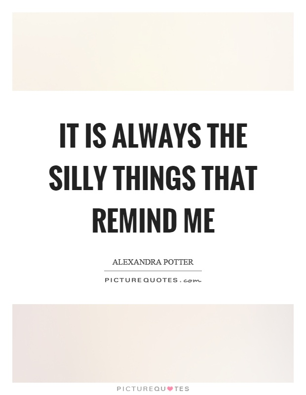It is always the silly things that remind me Picture Quote #1