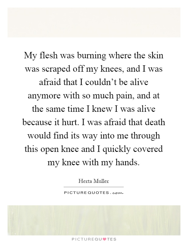 My flesh was burning where the skin was scraped off my knees, and I was afraid that I couldn't be alive anymore with so much pain, and at the same time I knew I was alive because it hurt. I was afraid that death would find its way into me through this open knee and I quickly covered my knee with my hands Picture Quote #1