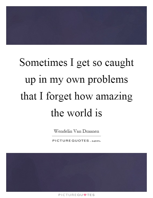 Sometimes I get so caught up in my own problems that I forget how amazing the world is Picture Quote #1
