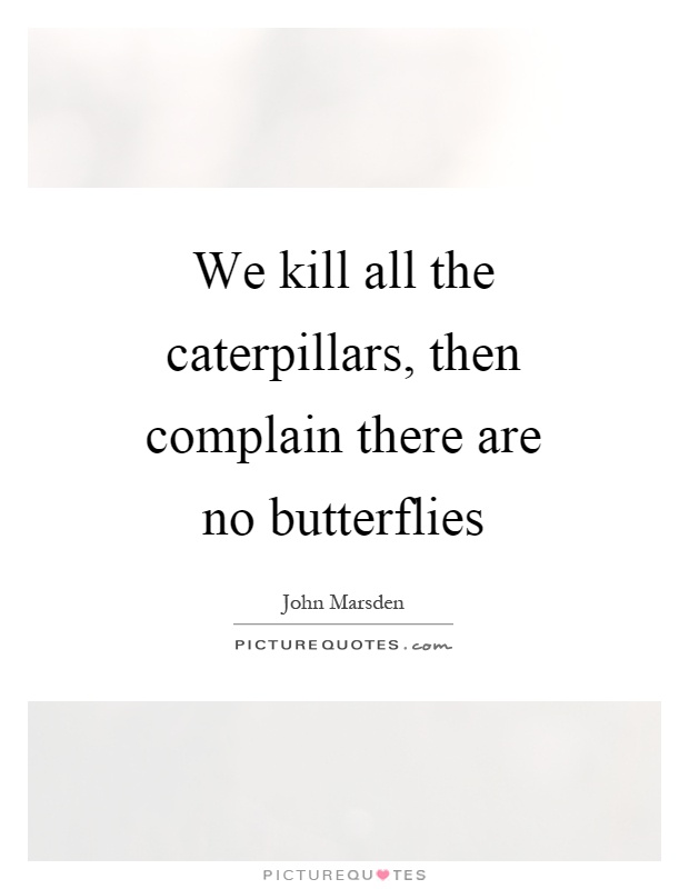 We kill all the caterpillars, then complain there are no butterflies Picture Quote #1