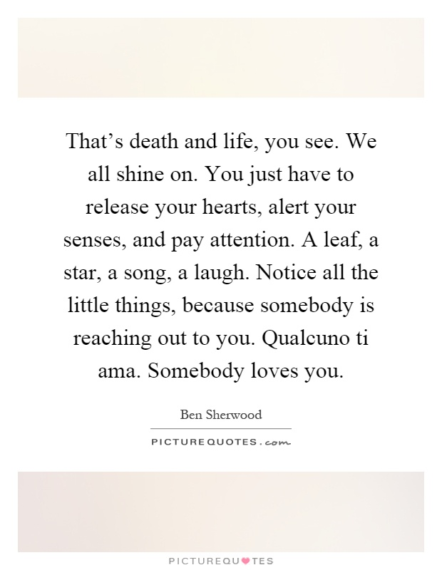 That's death and life, you see. We all shine on. You just have to release your hearts, alert your senses, and pay attention. A leaf, a star, a song, a laugh. Notice all the little things, because somebody is reaching out to you. Qualcuno ti ama. Somebody loves you Picture Quote #1