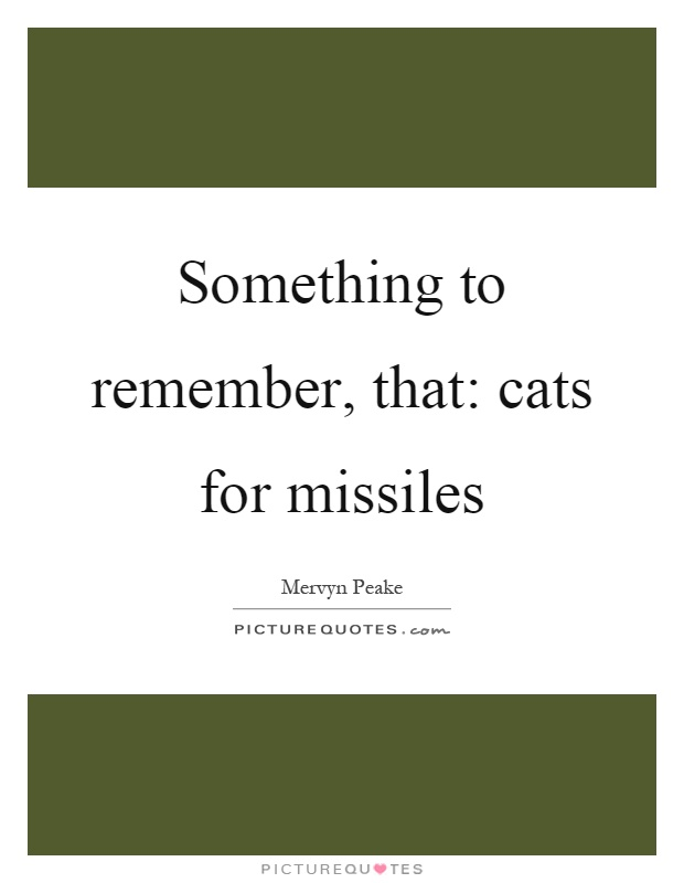 Something to remember, that: cats for missiles Picture Quote #1