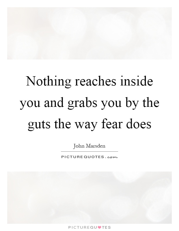 Nothing reaches inside you and grabs you by the guts the way fear does Picture Quote #1