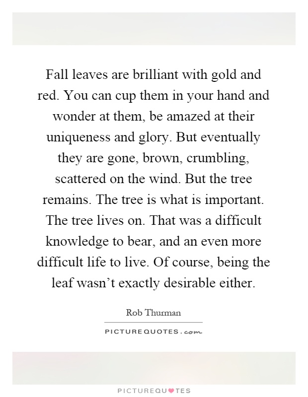 Fall leaves are brilliant with gold and red. You can cup them in your hand and wonder at them, be amazed at their uniqueness and glory. But eventually they are gone, brown, crumbling, scattered on the wind. But the tree remains. The tree is what is important. The tree lives on. That was a difficult knowledge to bear, and an even more difficult life to live. Of course, being the leaf wasn't exactly desirable either Picture Quote #1