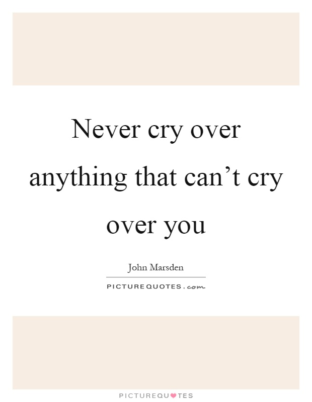 Never cry over anything that can't cry over you Picture Quote #1