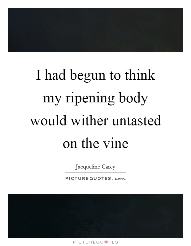 I had begun to think my ripening body would wither untasted on the vine Picture Quote #1