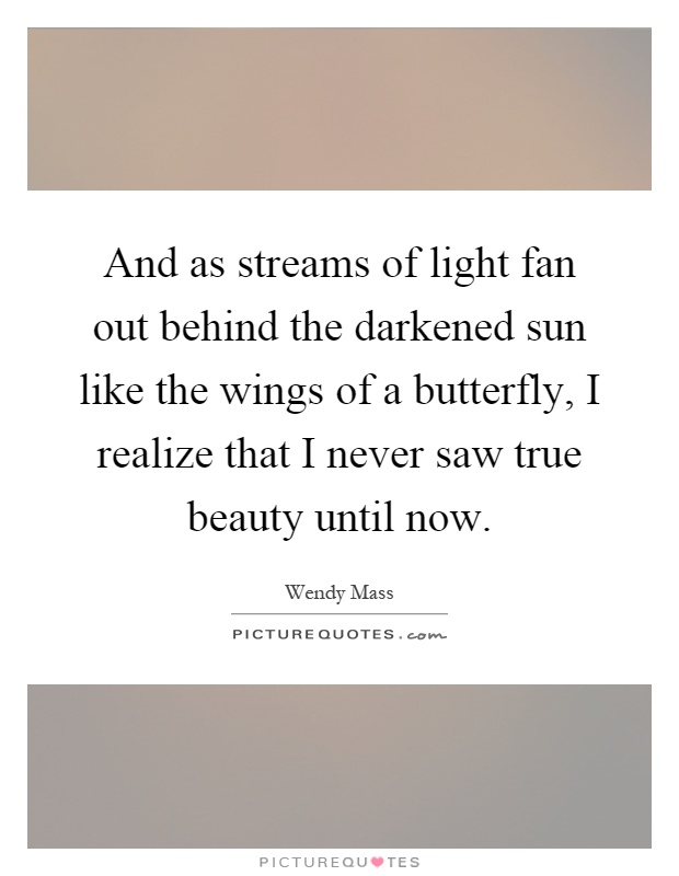 And as streams of light fan out behind the darkened sun like the wings of a butterfly, I realize that I never saw true beauty until now Picture Quote #1