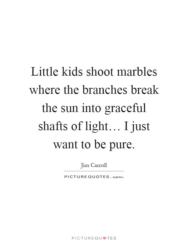 Little kids shoot marbles where the branches break the sun into graceful shafts of light… I just want to be pure Picture Quote #1