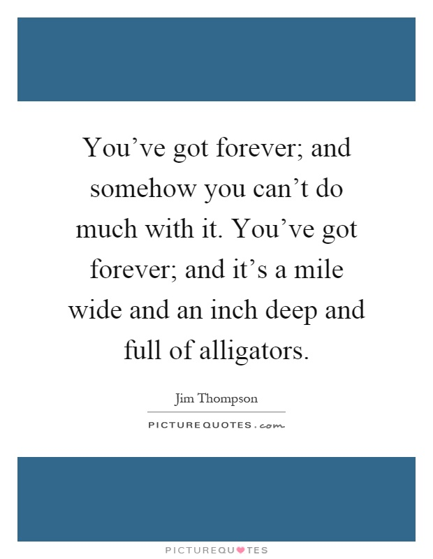 You've got forever; and somehow you can't do much with it. You've got forever; and it's a mile wide and an inch deep and full of alligators Picture Quote #1