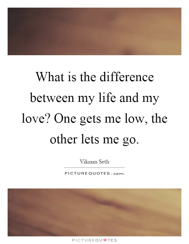 What is the difference between my life and my love? One gets me low, the other lets me go Picture Quote #1