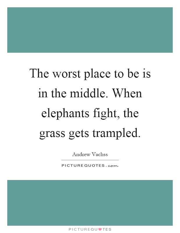 The worst place to be is in the middle. When elephants fight, the grass gets trampled Picture Quote #1
