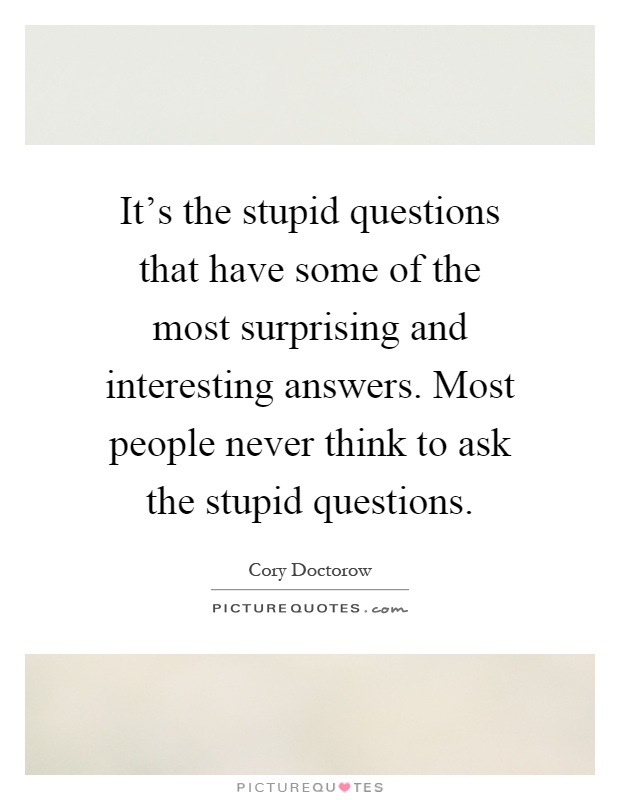 It's the stupid questions that have some of the most surprising and interesting answers. Most people never think to ask the stupid questions Picture Quote #1